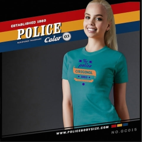 POLICE GC.015 BODYGIRL LITE BLUE MEDIUM PRINTED SHORT SLEEVE T-SHIRT