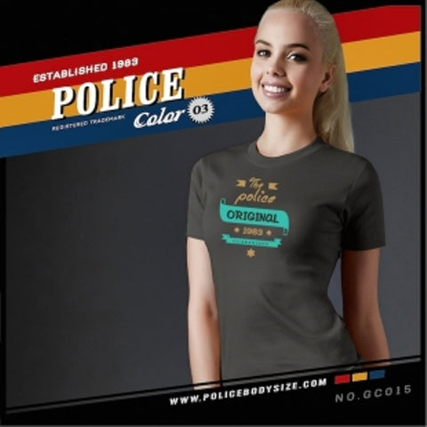 POLICE GC.015 BODYGIRL GREY MEDIUM PRINTED SHORT SLEEVE T-SHIRT