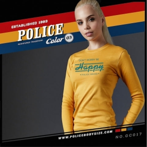 POLICE GC.017 BODYGIRL YELLOW MEDIUM PRINTED LONG SLEEVE T-SHIRT