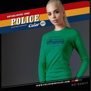 POLICE GC.017 BODYGIRL GREEN MEDIUM PRINTED LONG SLEEVE T-SHIRT