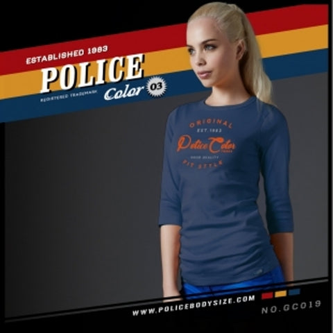 POLICE GC.019 BODYGIRL NAVY BLUE MEDIUM PRINTED LONG SLEEVE T-SHIRT