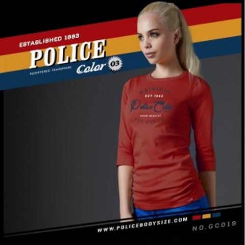 POLICE GC.019 BODYGIRL RED MEDUM PRINTED LONG SLEEVE T-SHIRT