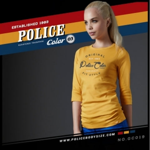 POLICE GC.019 BODYGIRL YELLOW MEDIUM PRINTED LONG SLEEVE T-SHIRT