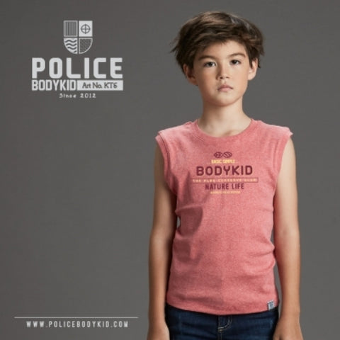 POLICE KT.6 BODYKID RED 4-6YRS PRINTED ARMLESS