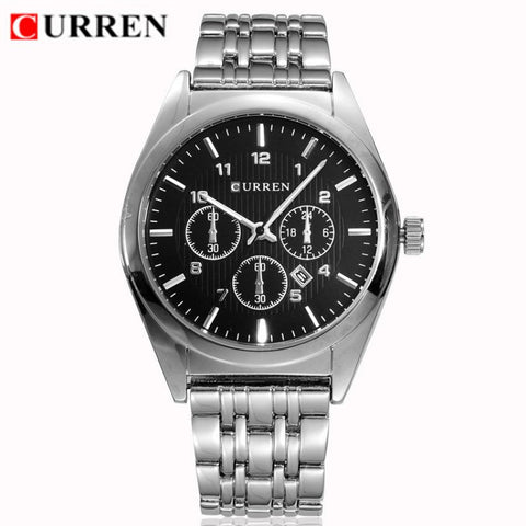 Curren 8134 Stainless Steel Black Face Watch