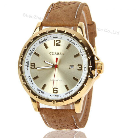 CURREN 8120 Golden Brown Leather Watch