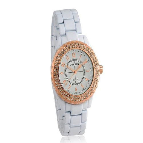 CURREN 8078 Women's Analog with White face Rose Gold Watch