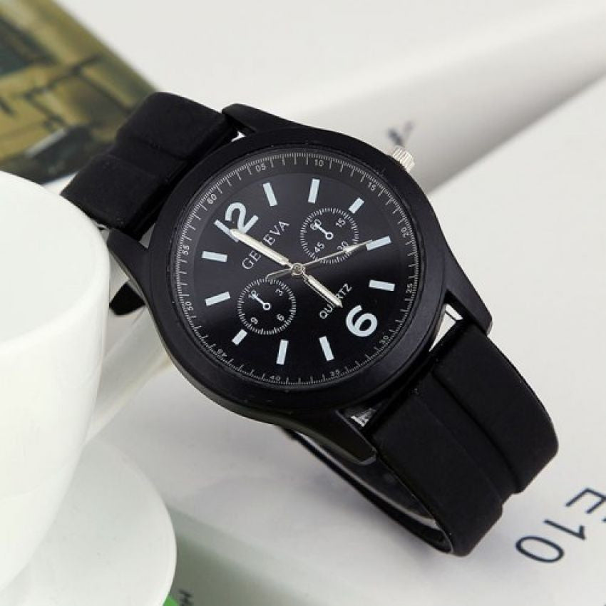 Geneva 9805 Silicone Unisex Wrist Watches - Black