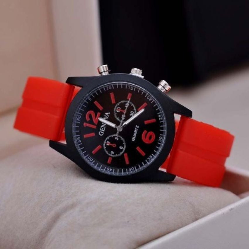 Geneva 9805 Silicone Unisex Wrist Watches - Red