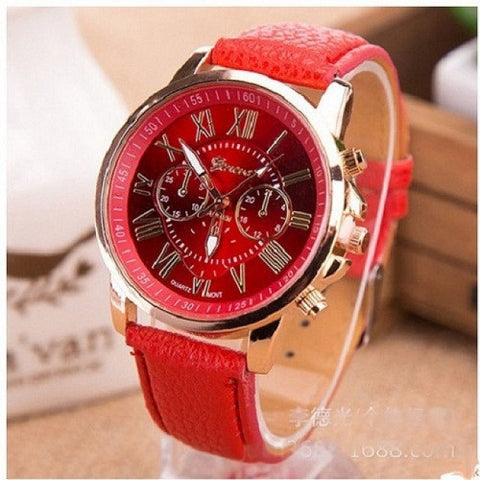 GENEVA 9701 Red Leather Strap Unisex Wrist Watch