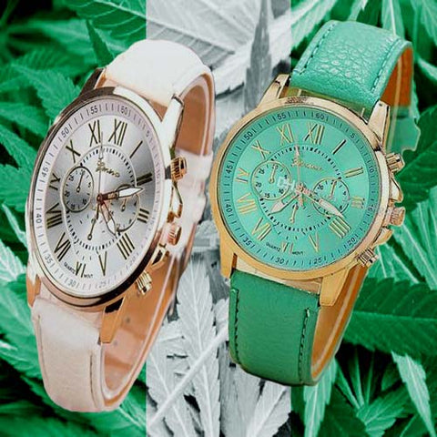 Geneva 9701 Green and White Leather Watch Bundle