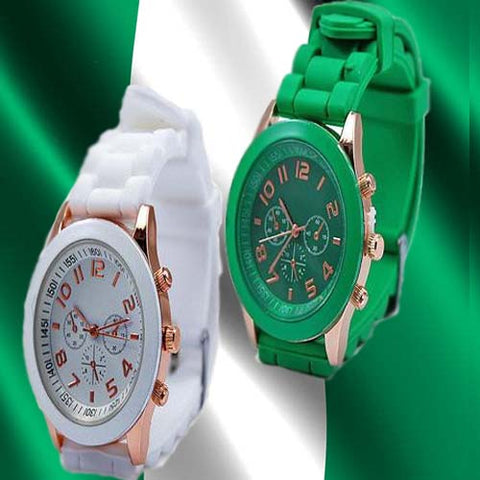 Geneva 9704 Green and White Watch Bundle