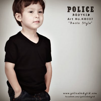 POLICE KB.007 BODYKID PLAIN BLACK 2-4YRS/4-6YRS SHORT SLEEVE T-SHIRT