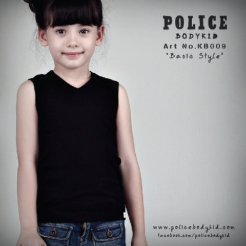 POLICE KB.009 BODYKID BLACK /WHITE/GREY/2-4/4-6/6-8YRS PLAIN SLEEVELESS T-SHIRT