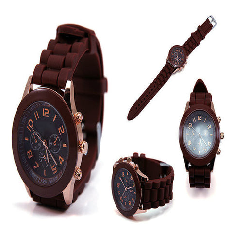 Geneva 9704 Brown Silicone Strap Unisex Wrist Watch