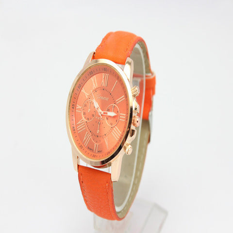 GENEVA 9701 Orange Leather Strap Unisex Wrist Watch