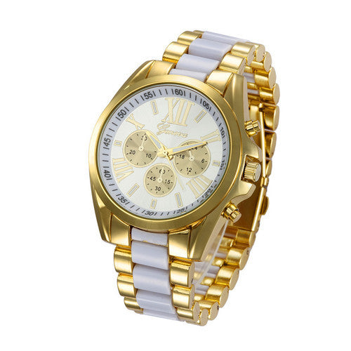 GENEVA 9708 White Gold Chain Wrist Watch
