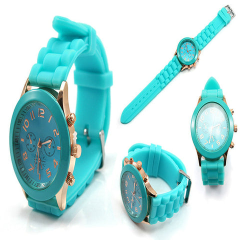 Geneva 9704 Mint Green Silicone Strap Unisex Wrist Watch