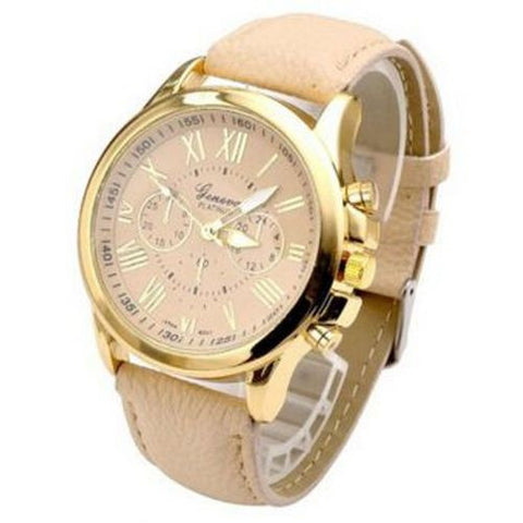 GENEVA 9701 Cream Leather Strap Unisex Wrist Watch