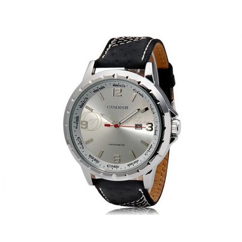 CURREN 8120 Silver Black Leather Watch