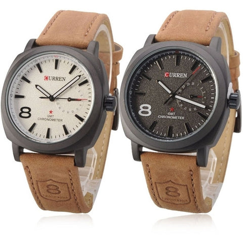 Curren 8139  2 in Pack Bundle Quartz Wristwatch Men White and Black Faze