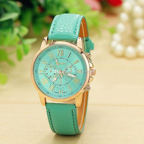 GENEVA 9701 Mint Green Leather Strap Unisex Wrist Watch