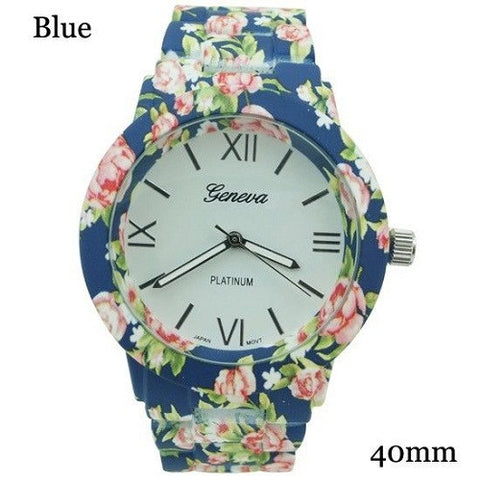 GENEVA 9700 BLUE FLOWER WATCH