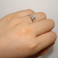 CC JEWELERY STERING 925 SILVER SQUARE BRIDAL WEDDING ENGAGEMENT RING-- SIZE 4/5/6/7/8/9/10