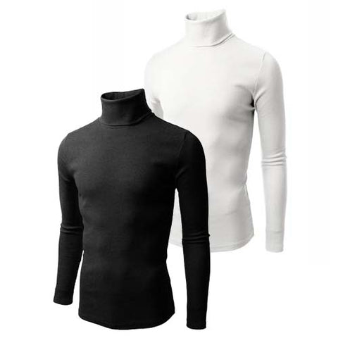U-zem 2 in 1 Black and White Turtle Neck T Shirts