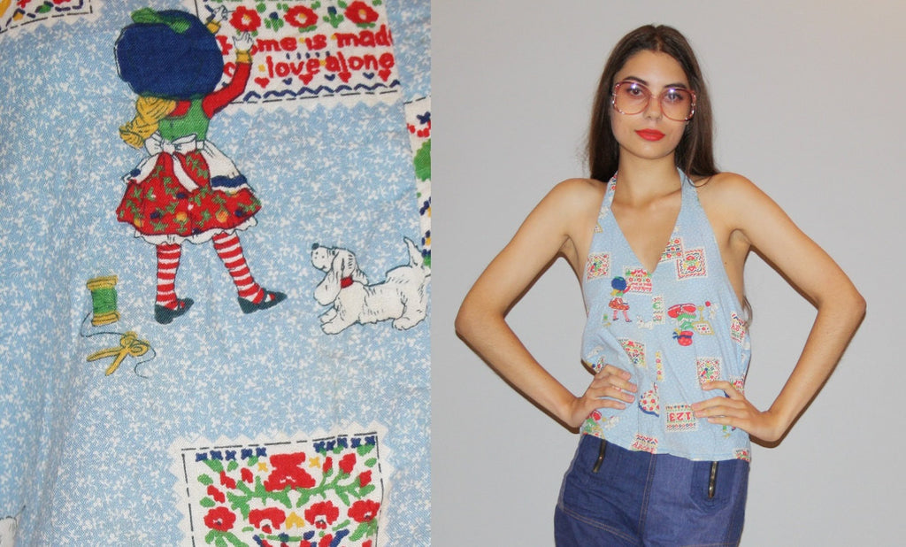 Vintage 1970s Novelty Holly Hobby Boho Festival Halter Top