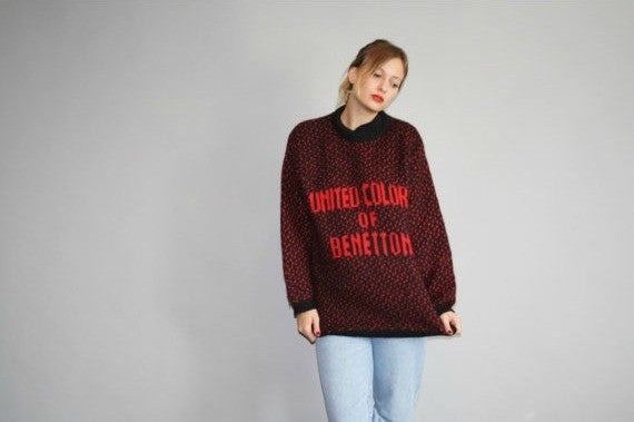 f1164f64d52 Designer Vintage 1980s Iconic United Colors of Benetton Red and Black  Oversized Sweater ...
