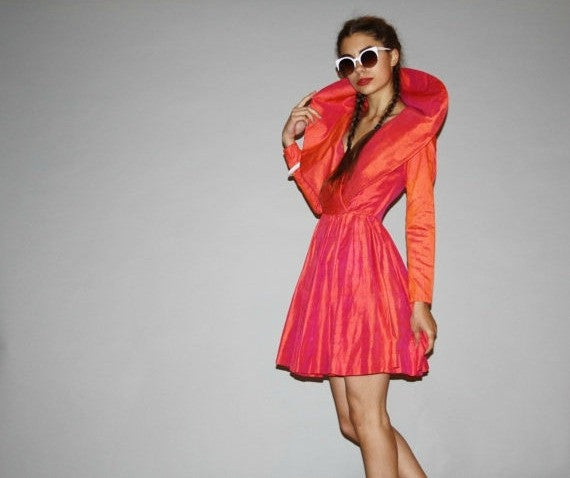 1980s Avant Garde Haute Couture Coral Orange Pink Raw Silk Oversized Collar Short Cocktail Dress