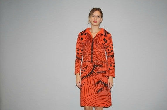 1960s Orange Graphic Abstract Geometric Dress