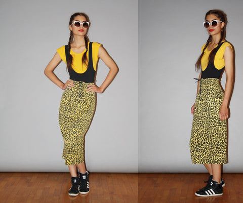 1990s Vintage Yellow Leopard Print Lace Up Corset Denim Jean Pencil Skirt