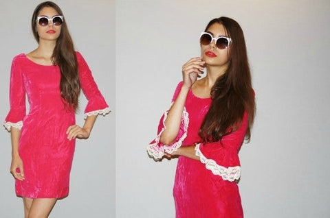 1960s Vintage Hot Pink Cherry Velvet Wiggle Dress With Fluted Lace Cuff