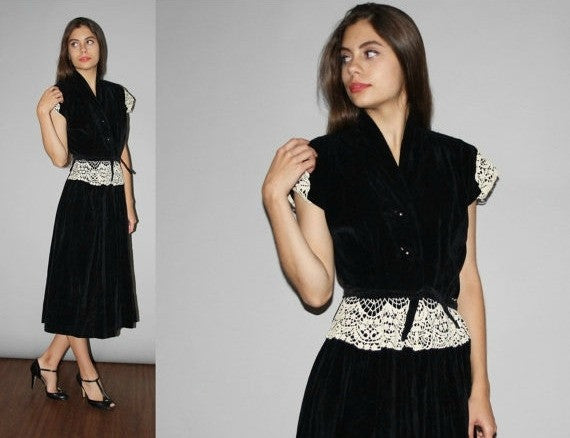1940s Vintage Black Velvet and White Lace Cocktail Dress