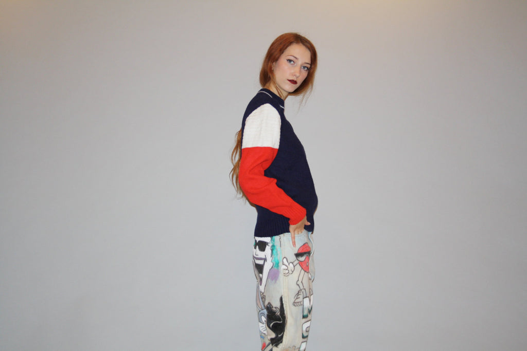 Designer Vintage Izod Lacoste Colorblock 1960s Vetements Style Sweater