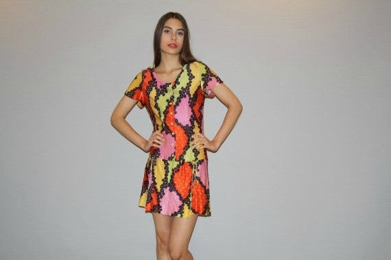 1960s Graphic Drop waist Floral Psychedelic Neon Mod Mini Babydoll Dress