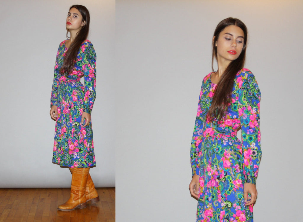 1960s Neon Floral and Paisley Long Sleeve Psychedelic Mod Midi Dress