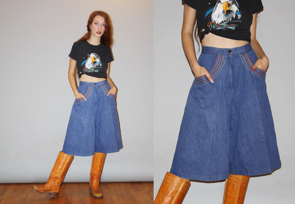 Vintage 70s Embroidered Rainbow Denim Jean Flare Bell Bottom Jeans Wide Leg Long Shorts