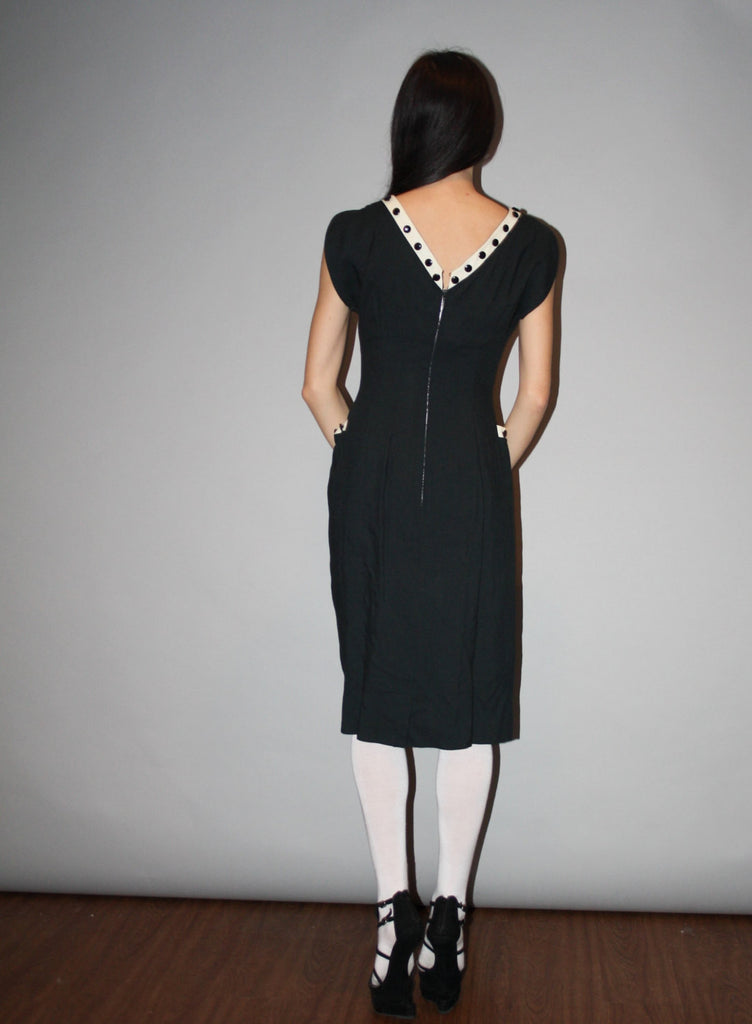 1940s Vintage Black and White Wiggle Cocktail Dress