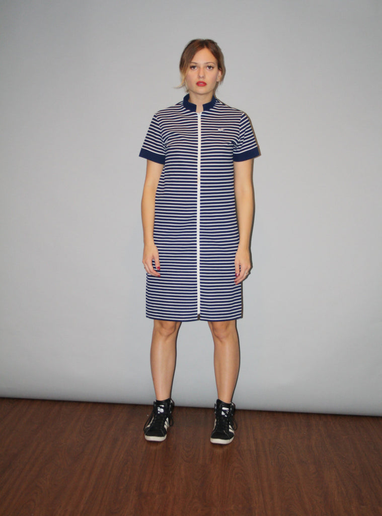 1960s Vintage Lacoste Izod Neon Navy Striped Tennis Shirt Dress