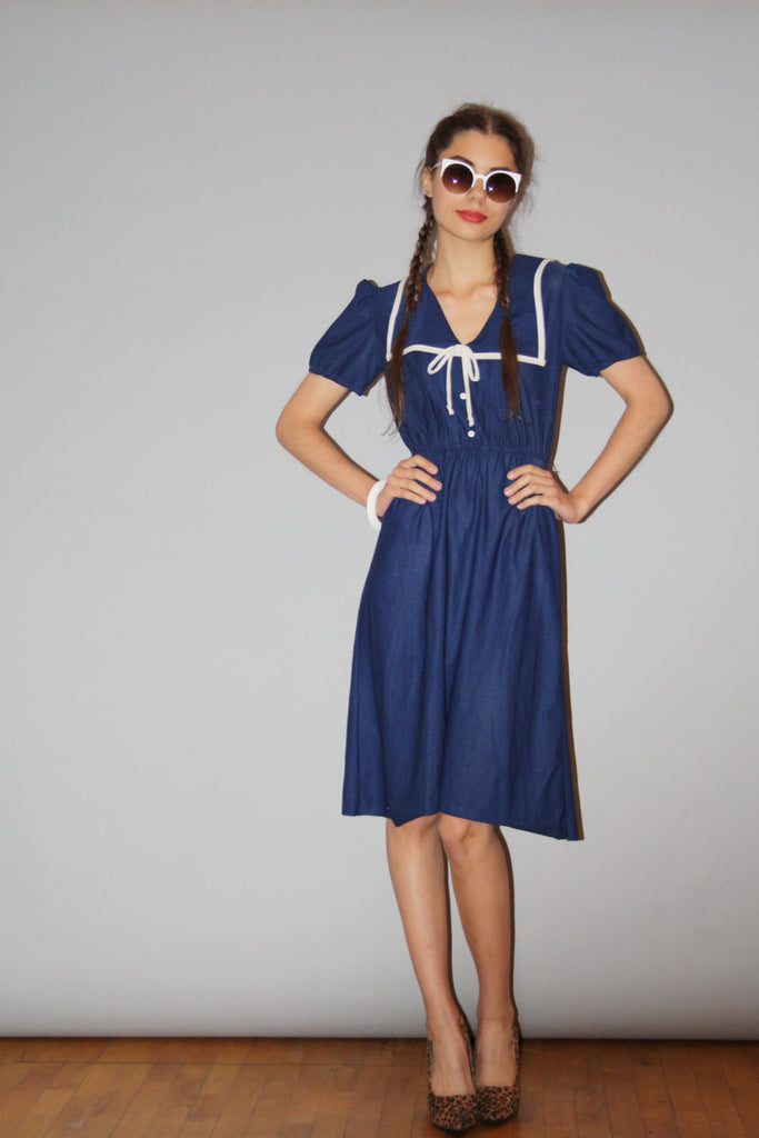 Vintage 1980s Nautical Bib Sailor Navy Dress