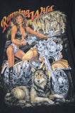 1980s Vintage Running Wild Wolves and Biker Chick MotorcycleT Shirt