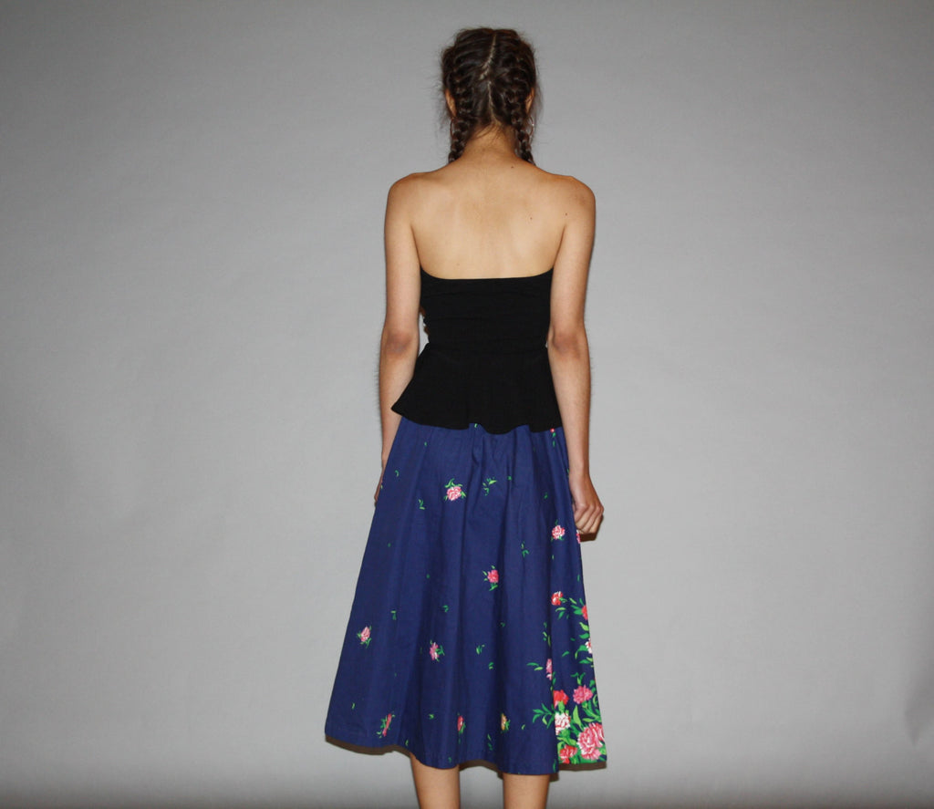 Vintage Blue 1970s Graphic Novelty Floral Pink Peony Boho Circle Midi Skirt