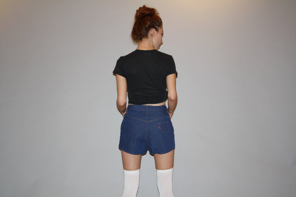 Vintage 1970s Levis Orange Tab Dark Wash Denim Jean Short Shorts Hot Pants