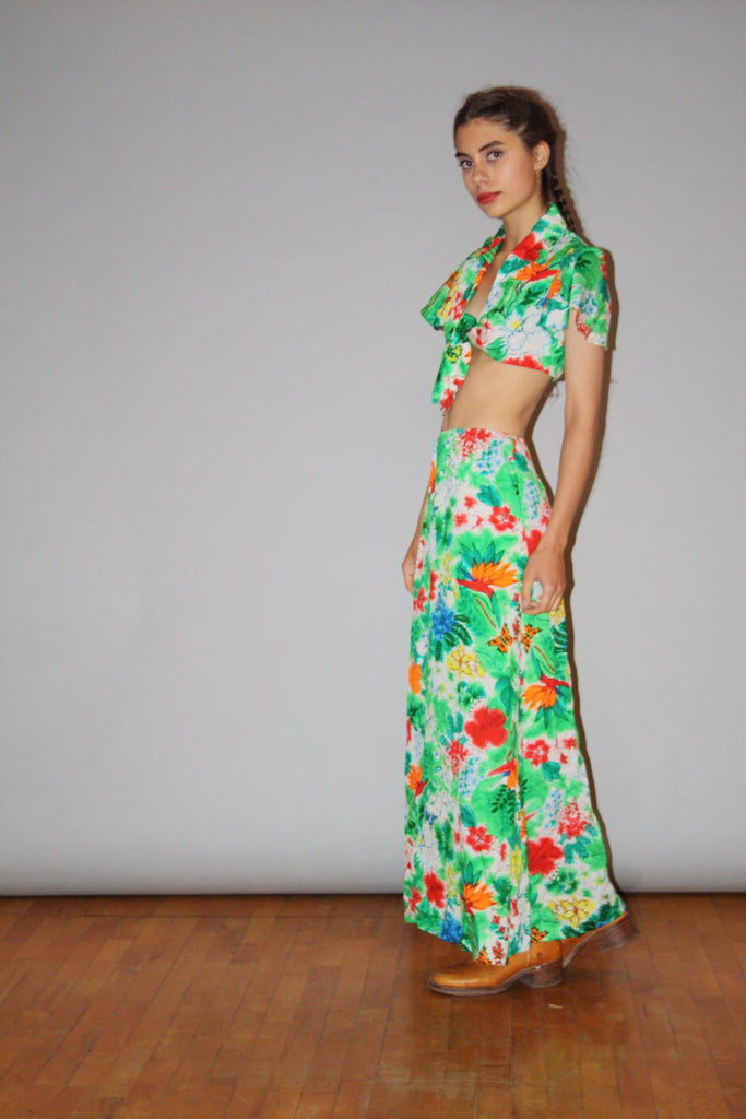 Vintage 1970s Two Piece Tropical Floral Maxi Skirt and Crop Top