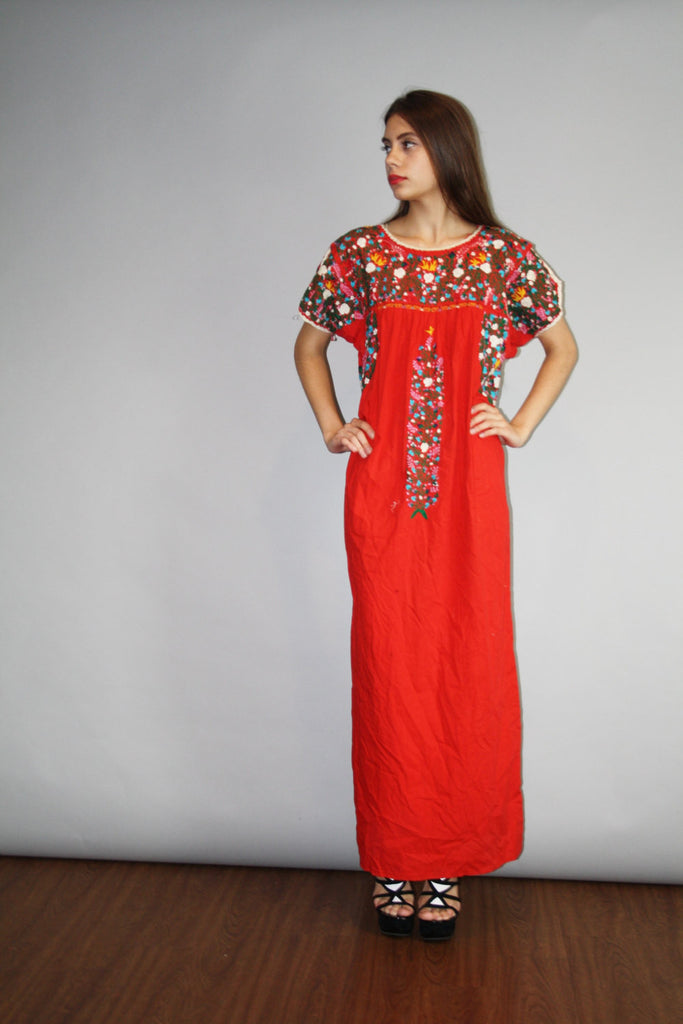 Vintage 1960s Oaxacan Red Long Rainbow Floral Embroidered Boho Hippie Folk Ethnic Long Mexican Wedding Maxi Dress