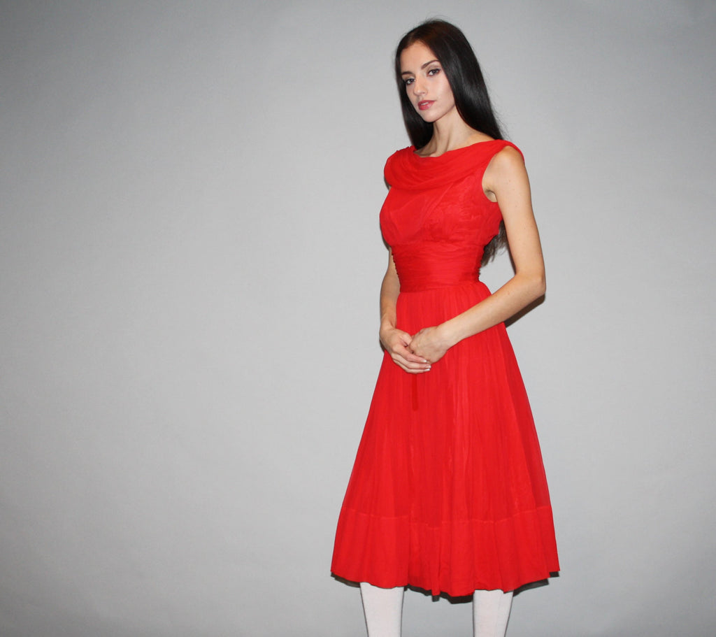 Vintage 1950s Red Chiffon Cocktail Party Dress