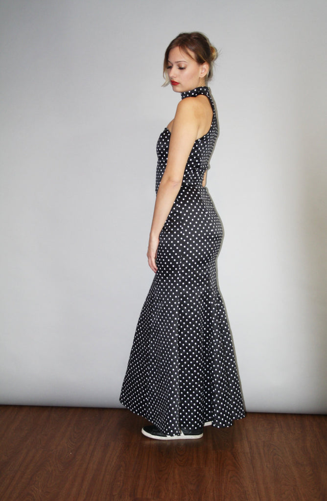 1990s black and white polka dot Full Length mermaid gown Gown